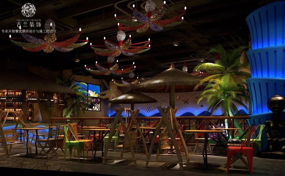 重庆海鲜餐厅装修效果图案例_在广场也能体验海边的感觉